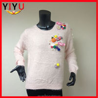 2015 new fashion design girls stylish knitted pullover christmas wool sweater for young girl