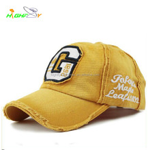 Washed vintage 6 panel applique embroidery logo cycling baseball cap custom headwear unstructured polo hat