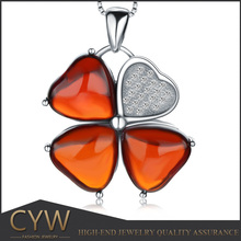 CYW Hot china products wholesale Clover garnet 925 sterling silver pendants made earrings