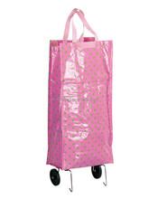 Wholesale cheap custom light pink foldable shopping trolley bag