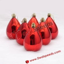 Red Water Drop Glossy Hanging Decorative Display Ornament Ball for Xmas Christmas (7CM, 6PCS/Pack)