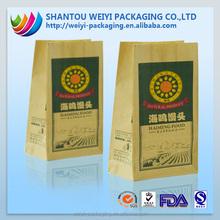 Natural grocery brown sack kraft paper stand up bag