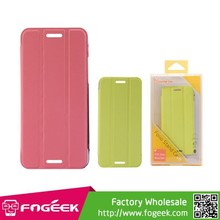 PU Leather Flip Case with Back Hard Plastic Case Cover for HTC One Mini M4