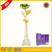Wedding decoration 25*8 cm Green color 24k gold plated rose, 24k gold rose flower with Eiffel Tower base for good sale