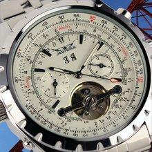 Jargar Men Gent White Tourbillon Date Aviator Mechanical Watch WM142