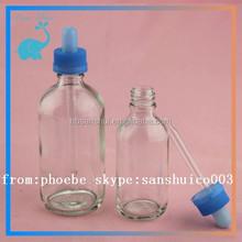 18/410 neck bottle, clear ejuice glass bottle 1oz 2oz withblue child proof cap
