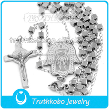 Venta al por mayor religiosa señor jesús maría católica gotea el collar crucifijo de san benito collar del rosario