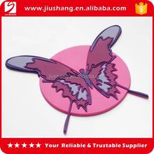 Custom pvc anti slip pink butterfly coffee cup mat coaster