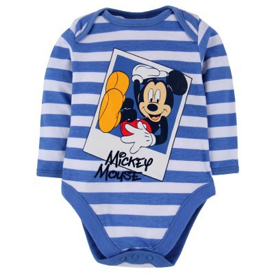 2015 newest arrival blue white stripes boys wear Bodysuits long sleeve printed cartoon mouse New ...