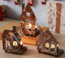 Christmas Gift Set of 3 Rustic Metal House Tea Light Holders With Beautiful Silver Leaf Distressing