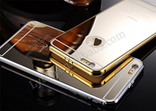 For iPhone 6S New Gold Aluminum Metal Mirror Bumper Back Cover Cell Phone Case