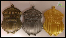 MISSION VALLEY LEAGUE 3D gold antique silver antique brass Medals