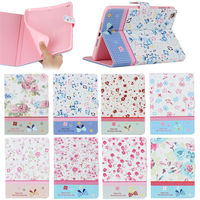fancy flower design shining bling leather flip wallet case for iPad mini 1 2 3 with stand
