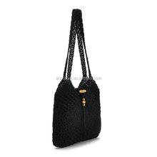black Wool knitting single strap shoulder bag cotton leisure bag for women