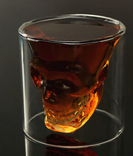 Hot Sale 75ml Double Wall Skull Skeleton Whisky Wine Glass Cup Crystal Skull Head Vodka Shot Wine Glass Novelty Cup
