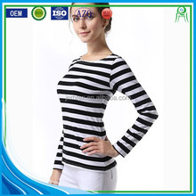 Custom Body Fit Cotton Polyester Blend Cotton Women's Long Sleeve Black and White Stripe T shirt