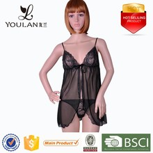 Customized LOGO Sexy Chest Polyester Matching Thong Sexy Girls In Nighties