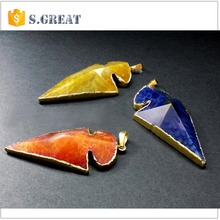 alloy stainless steel arrowhead pendant natural stone druzy wholesale arrowhead pendant