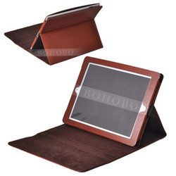 stand display genuine leather computer bag for iPad mini case