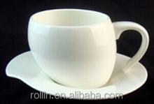 EU Market elegant Ceramic tea cup and saucer heart shaped with handle