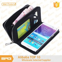 BRG leather case with credit card holder and stand for galaxy Note4 case