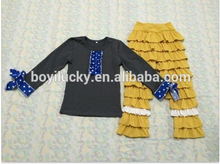 Chevron baby clothing wholesale baby girls garments suit children's long sleeve top and 9 ruffle pants trendy boutique
