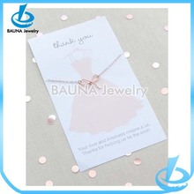 Simple design thin chain plain rose gold plate bowknot necklace