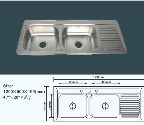 Double vasque seul plateau ss satin double utilitaire for Evier un seul bac