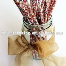 25 Vintage Flower Paper Straws- Tea Party Straws- Bridal Shower