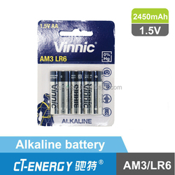 Vinnic 1.5V Alkaline Battery AA/lr6/AM3 1.5V Alkaline factory price