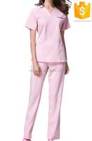 Fashion T/C 65/35 Pink Medical Scrub Tops&Pants Women Hospital Uniform Set