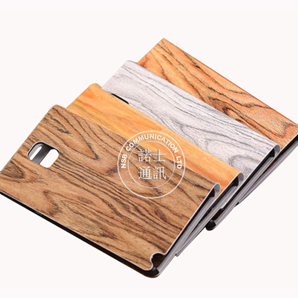 Wooden pattern pu leather cell phone case for note 3