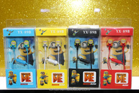 New Cartoon Minions Earphone Headset for Smart phone MP3 MP4 MP5 Computer with retail packing