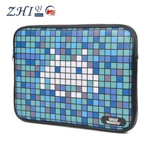 Unisex shiny leather printed laptop protective waterproof case for laptop with zipper and heavy flannelette