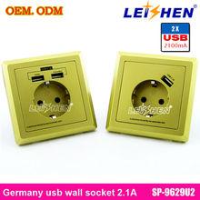 dual USB charger port male eu plug electrical wall socket