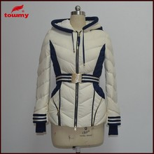 classical design women short down jacket with knit hood and belt warm white color