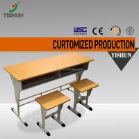 School furniture cheap double school desk and chair/adjustable children desk and chair