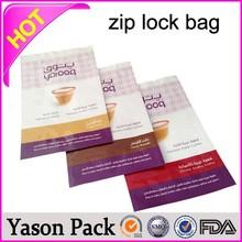 Yason ziplock bags write on rice packaging bag with zipper zipper top gusset bag