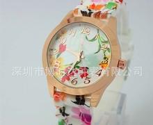 High quality Wrist Watches Quartz watch Women Girl Watch luxury Silicone Printed Flower Causal