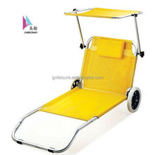 Outdoor lounger/Folding Alu.beach bed with wheel GXB-019 2014 sun lounger for swimming pool