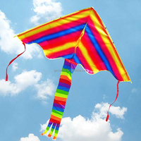 2015 New Arrival Outdoor Fun Colorful Rainbow Triangular Kite Flying Modern Kite for Children