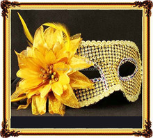 Gold silver PVC ball mask Flat head imitation diamond big feather flower mask