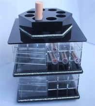 New 2015 Product Idea Make Up Counter Acrylic Plastic Black Rotating Lipstick Tower Nail Care Tools And Equipment