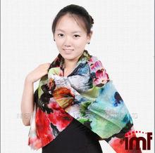 super larga bufanda de lana impreso flor bufanda de las señoras poncho