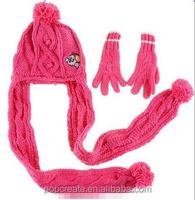 warm girl scarf gloves hat set