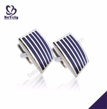 Good gift blue color with stripe pattern executive cufflinks