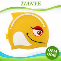 Kid cartoon fish shaped animal print silicone ear protection swim cap