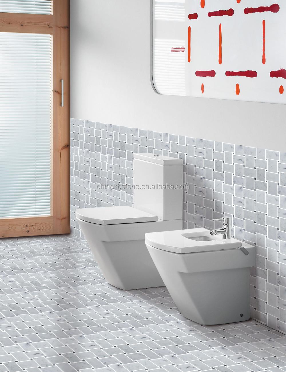 Carrara wit marmeren tegels mozaïek, gevlochten manden ontwerp ...