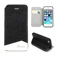 Double Color Fashion Design PU Leather for iPhone 5s Mobile Case Cover