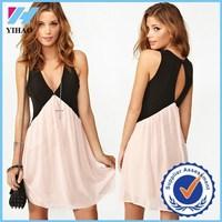 Yihao 2015 Sexy Women Chiffon fashion new design V Neck Sleeveless Mini Pattern Ladies wholesale Dress Beach Clothing Pink